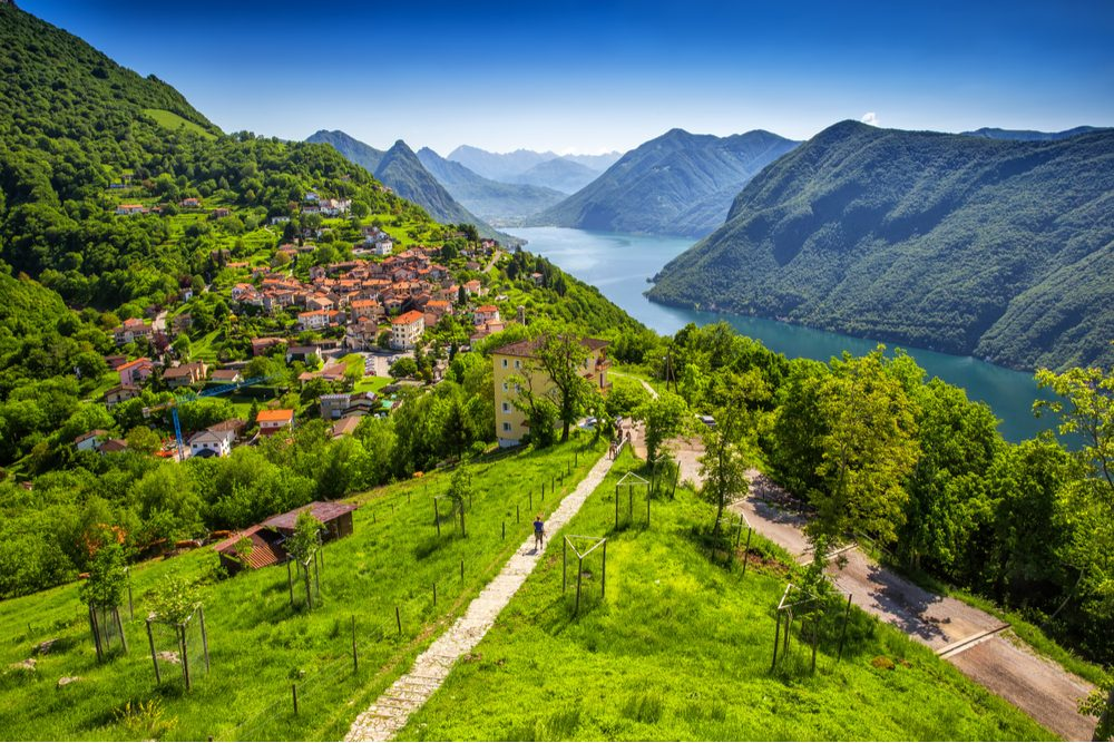 View to Lugano city, Lugano lake and Monte San Salvatore from Monte Bre, Ticino, Switzerland - Image