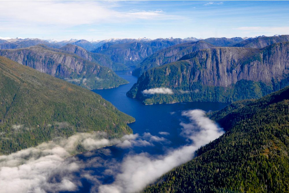 Aerial view of Misty Fjords National Monument in Alaska