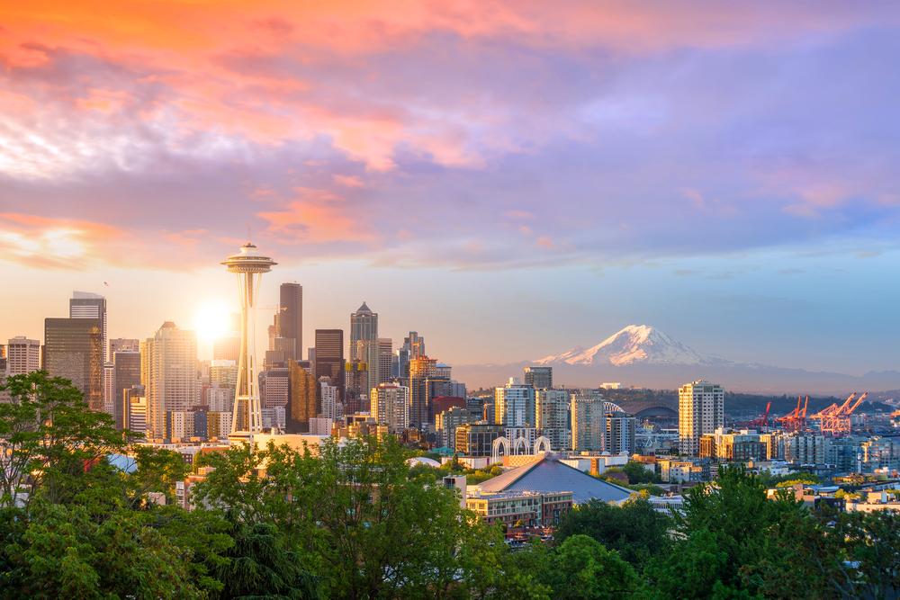The skyline in downtown Seattle, Washington