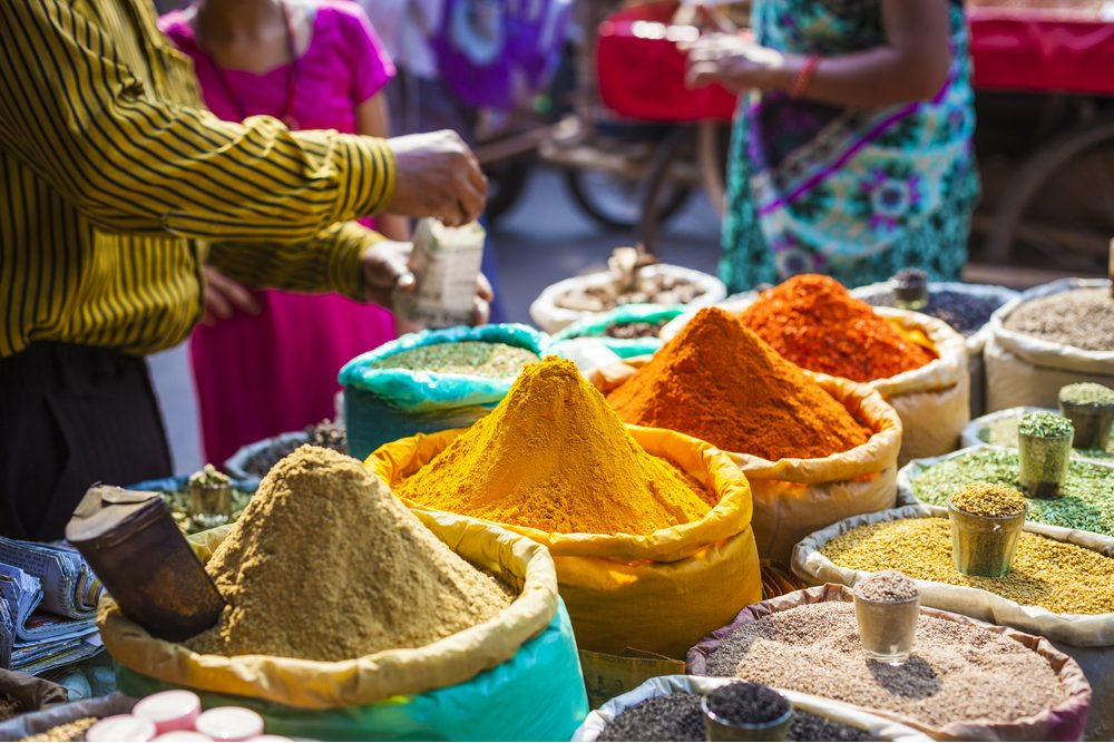 Spices at a street market in Delhi, India
