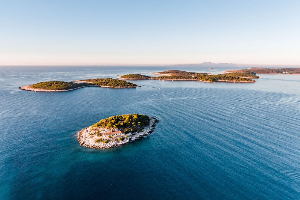 aerial view of Hvar island and surrounding sea Croatia