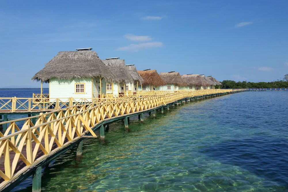 pier and overwater bungalows in Bocas del Toro Panama