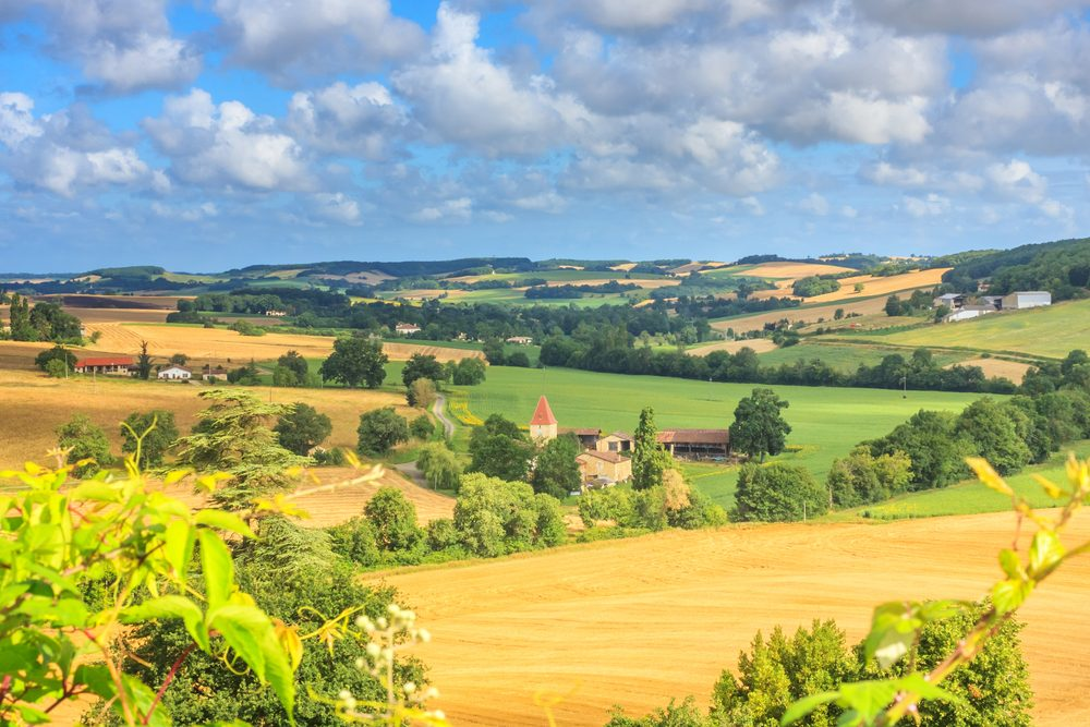 Summer landscape - view of the countryside close to the village of Lavardens, in the historical province Gascony, the region of Occitanie of southwestern France -