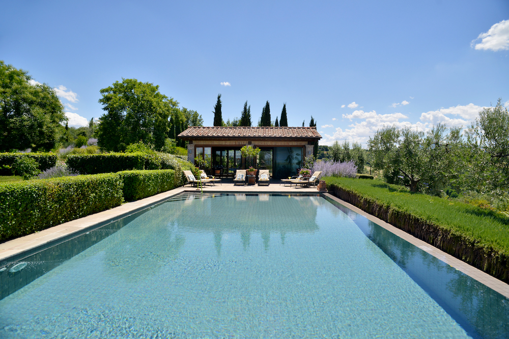 luxury Italian villa and pool area