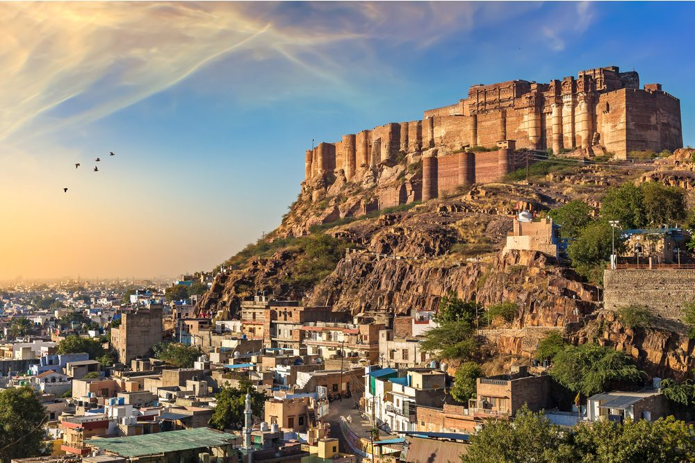 Mehrangarh Fort with Jodhpur city scape at sunset