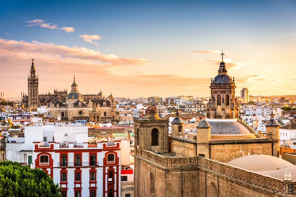 Skyline in the Old Quarter of Seville, Spain