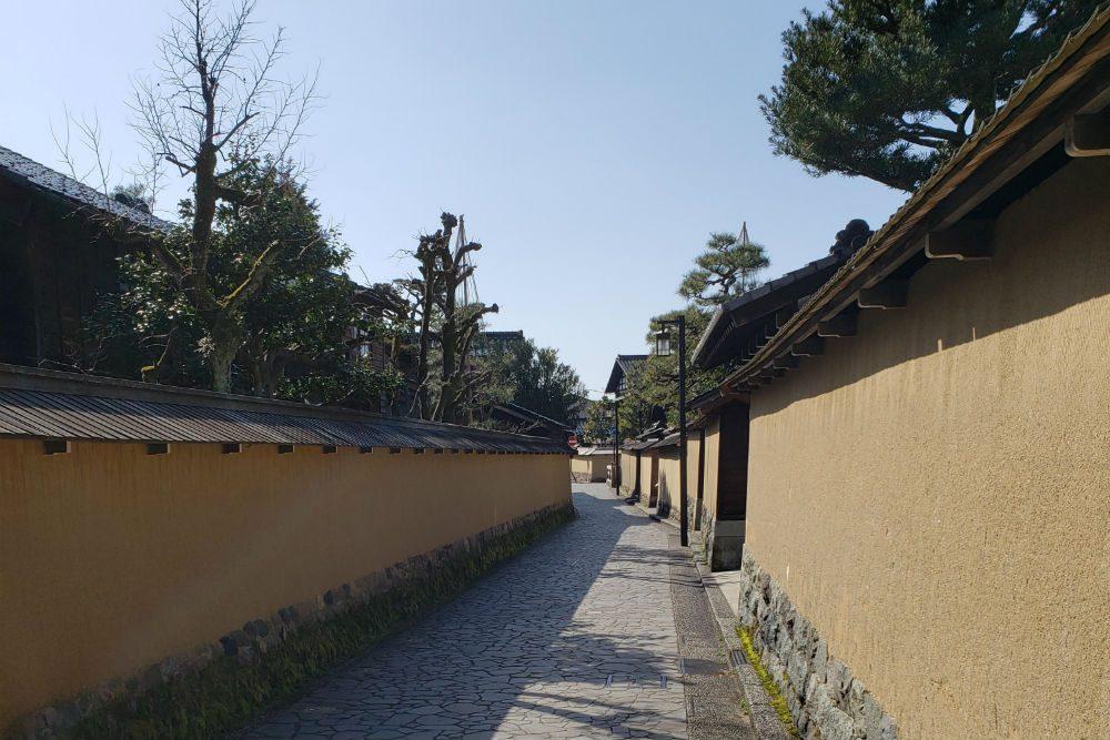 empty outdoor alley in samurai district in Kanazawa Japan
