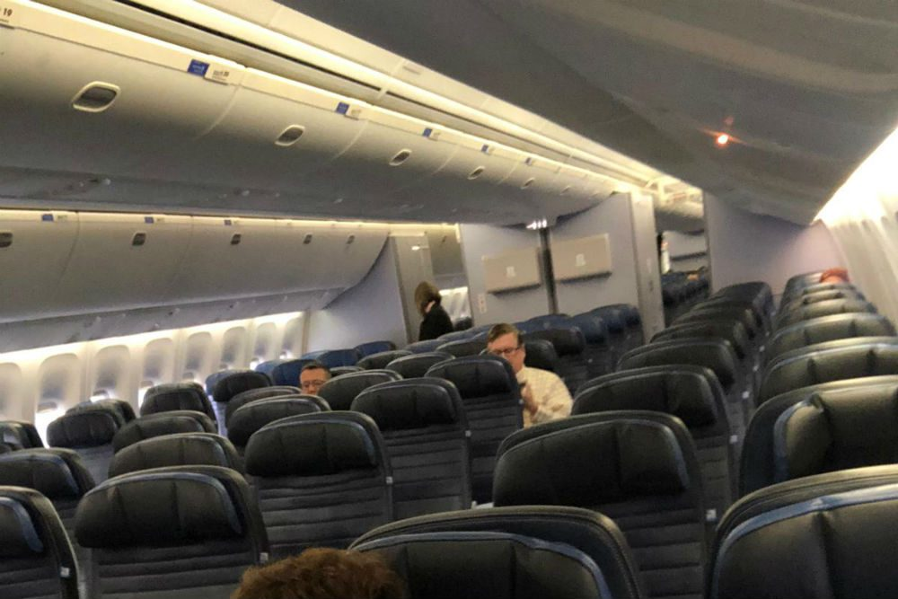 empty flight from Newark airport to Rome on March 6