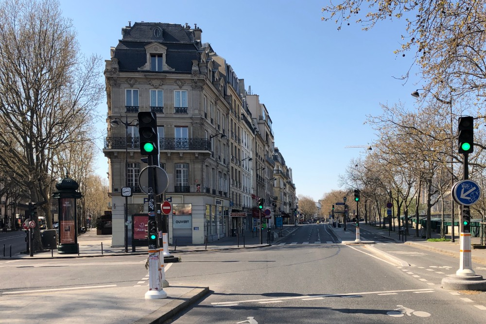 empty street in Paris during coronavirus lockdown