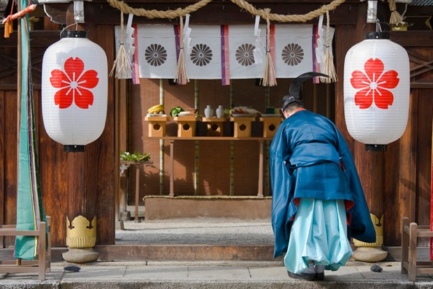 A priest at the Hirano Shrine in Kyoto