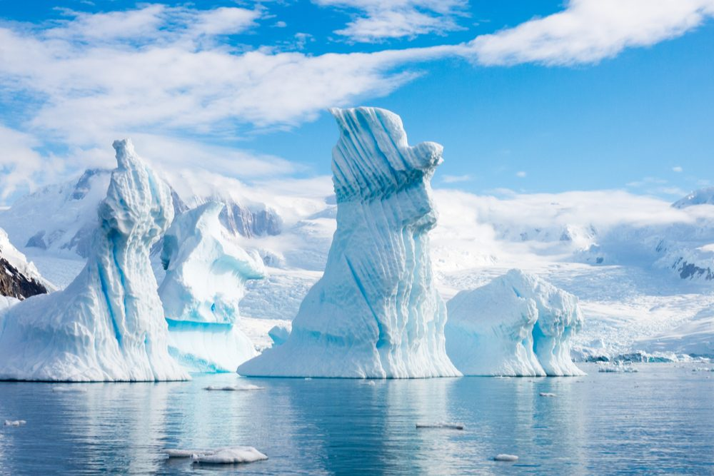 Pinnacle shaped icebergs floating in Andvord Bay near Neko Harbour, Antarctic Peninsula, Antarctica