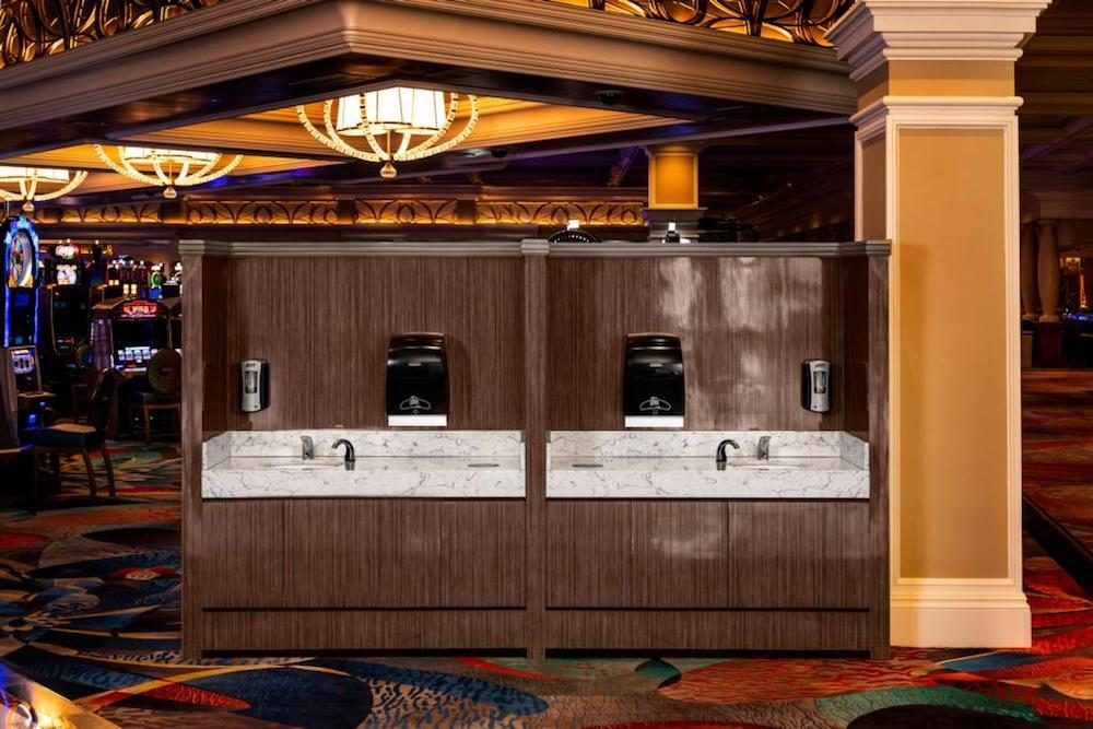 handwashing stations at MGM Resorts hotels for coronavirus safety