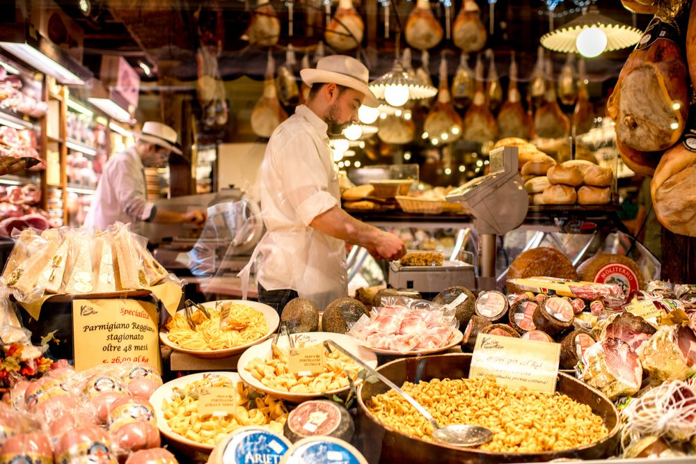 Bologna, Italy Food store food market showcase full of food in Bologna city in Italy