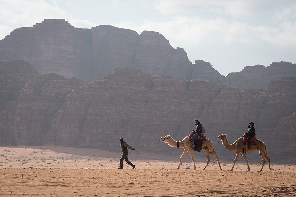 tourists on camels in wadi rum desert jordan with rock mountains behind