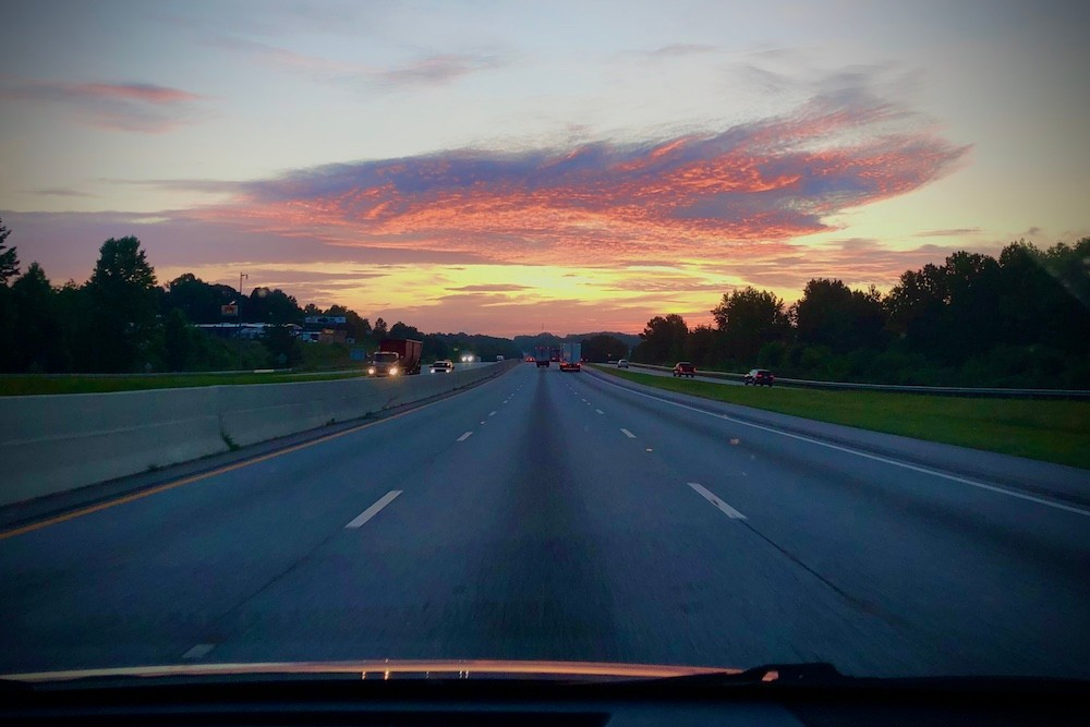Sunrise in Spartanburg, S.C. Road Trip, Wendy Perrin Covid-19