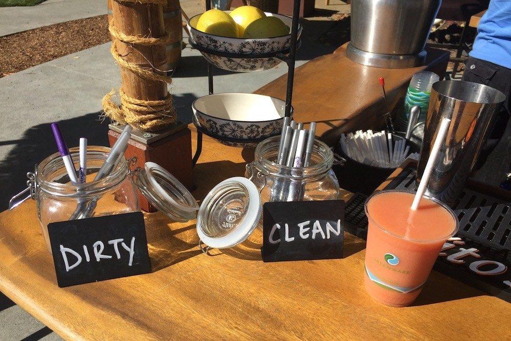 Flamingo Resort hotel clean and dirty jars for pens during coronavirus