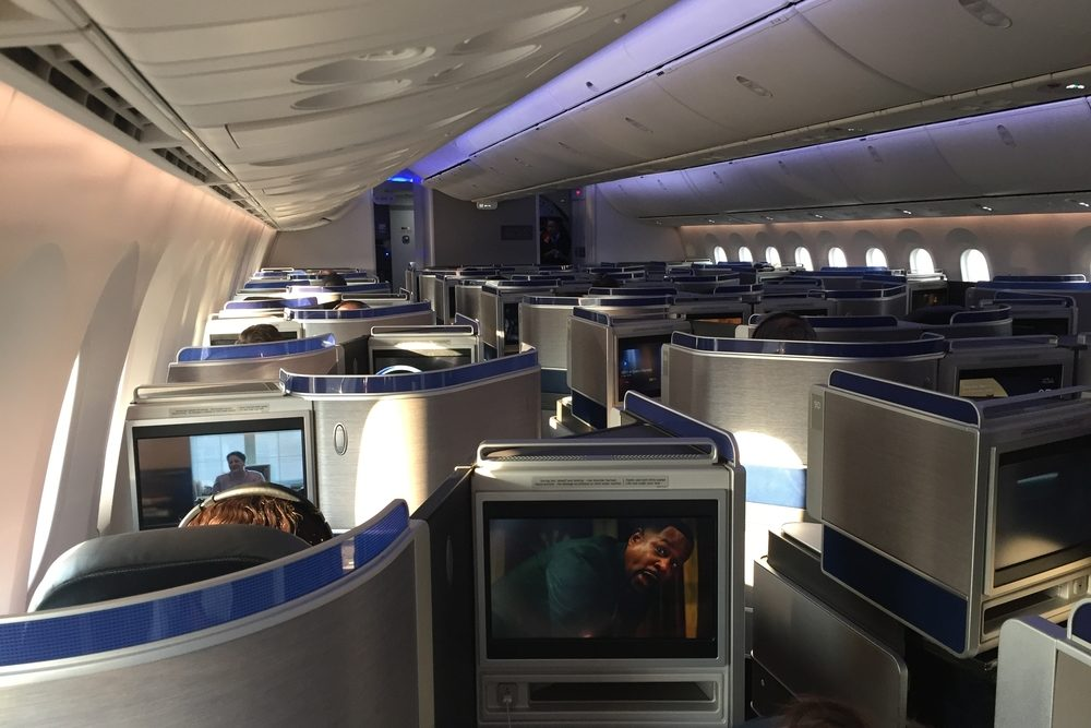 United Airlines 787 Dreamliner Polaris business class cabin Flight from Newark to San Francisco during coronavirus Wendy Perrin boys