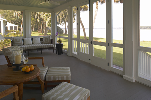 screened in porch looking out at the water, at Montage cottage hotel in South carolina