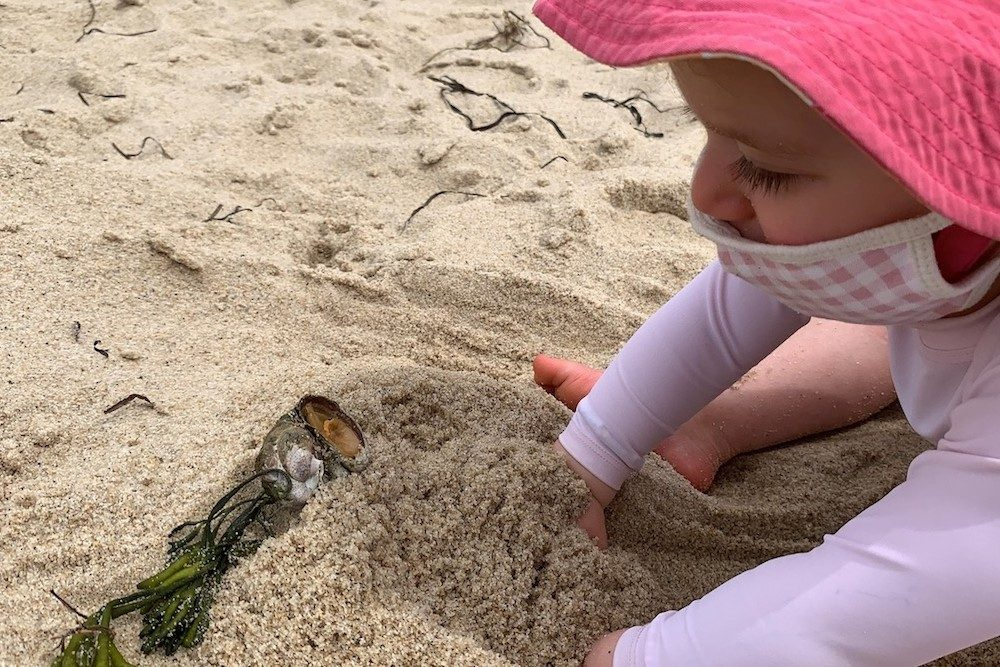 toddler digging in the sand on a beach in Cape Cod