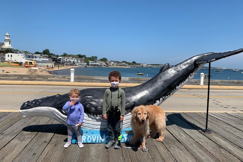 kids and dog in masks at MacMillan Pier Provincetown Massachussetts