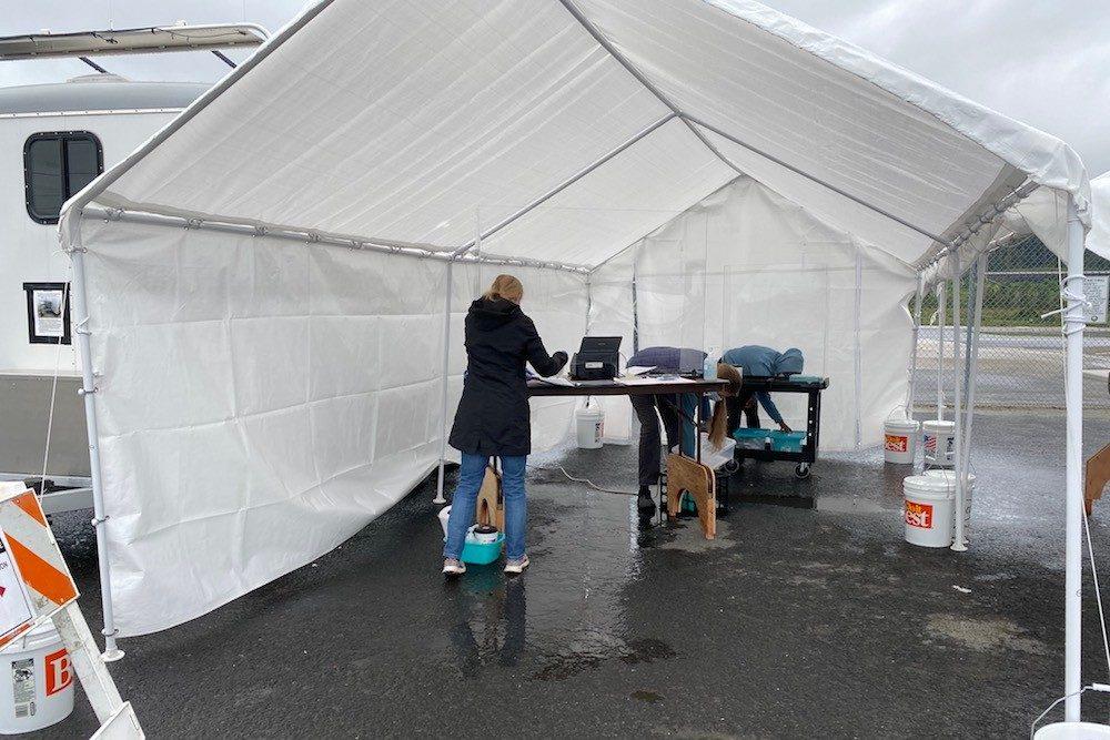 Covid testing tent at Petersburg airport Alaska