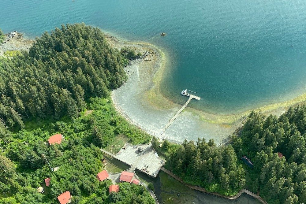 aerial view from airplane when Landing at Tutka Bay Lodge Alaska