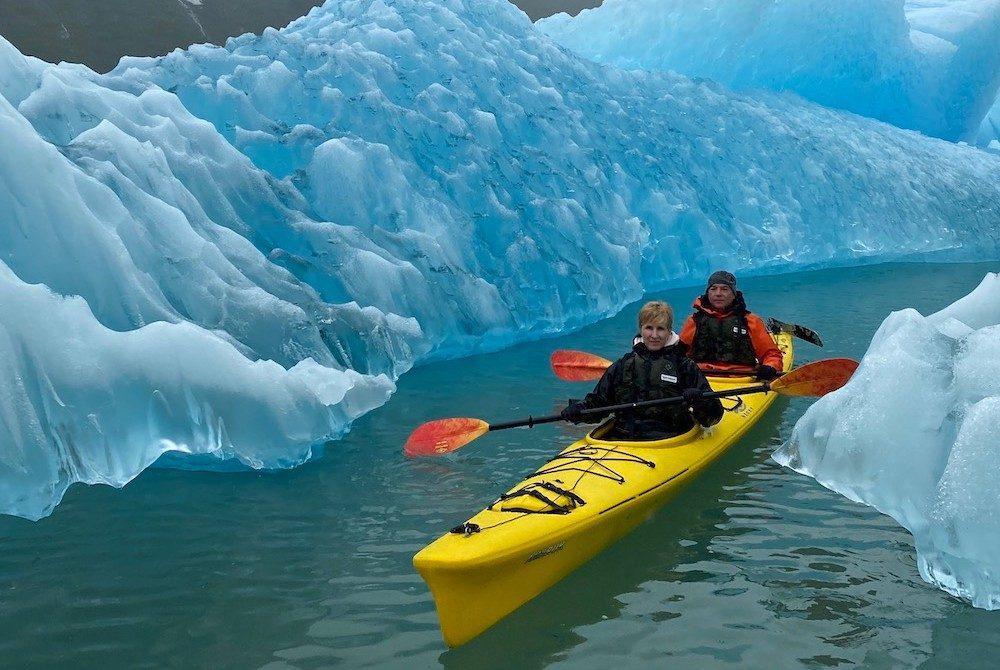a couple kayaks through the ice in Alaska