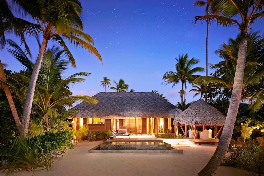 Brando Resort Tahiti- villa at sunset