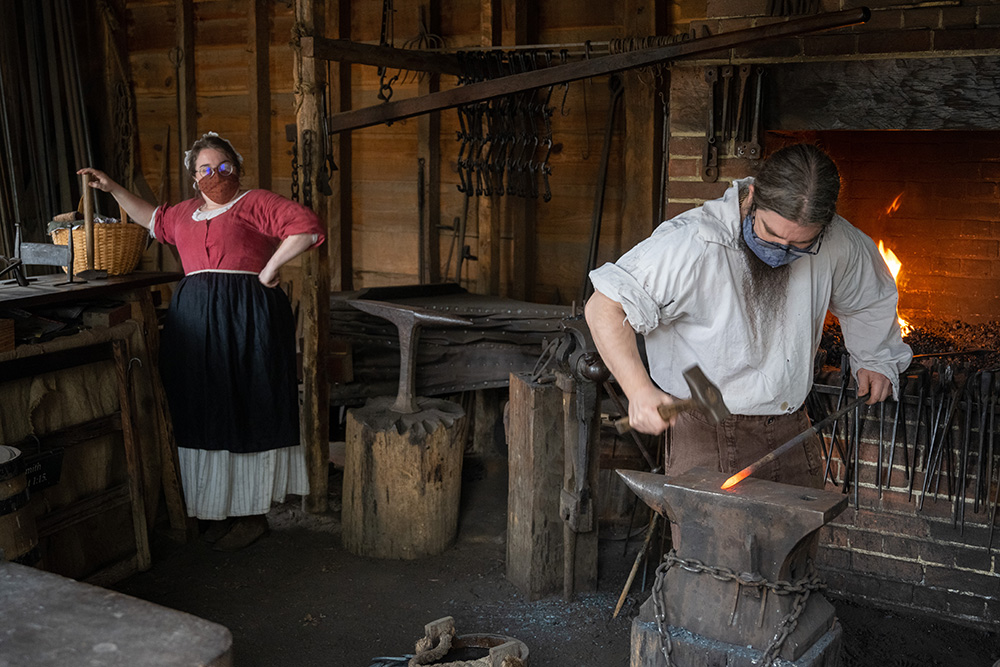 At Mount Vernon, costumed—and masked—interpreters