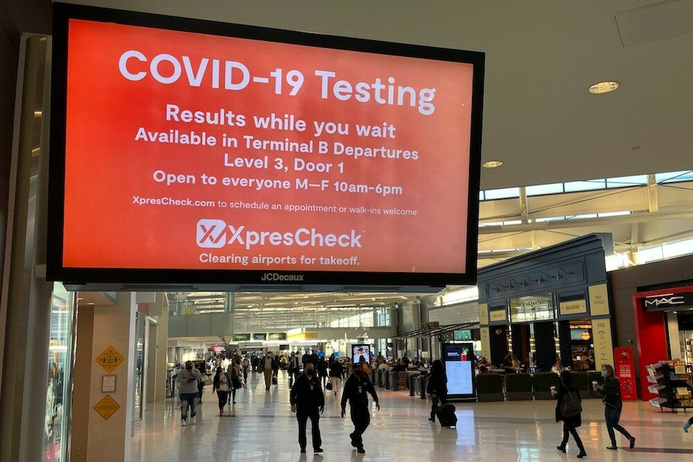 Covid testing sign Newark Airport