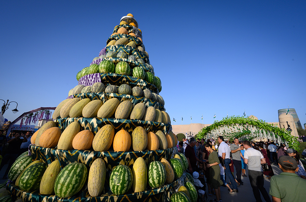 melon stack at Khiva melon festival Uzbekistan
