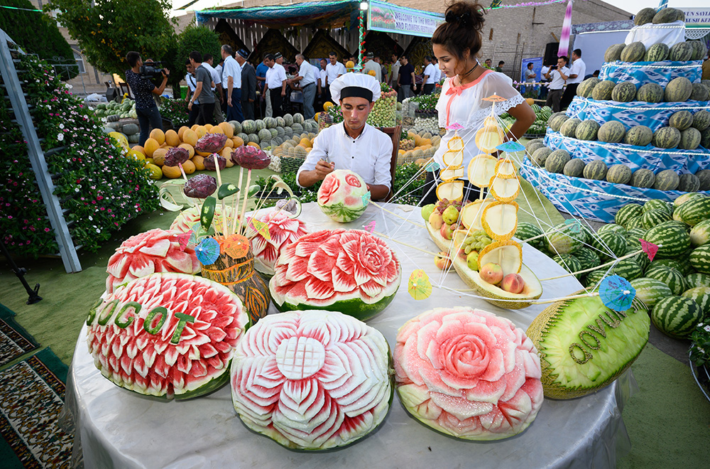 beautiful fruit carving at Uzbekistan Khiva melon festival