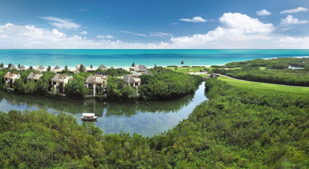 aerial view of Riviera maya resort, the Fairmont Mayakoba with ocean and jungle and villas