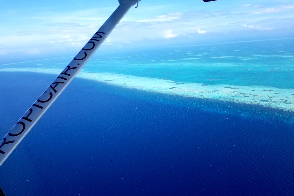 Flying over Glover's Atoll Belize