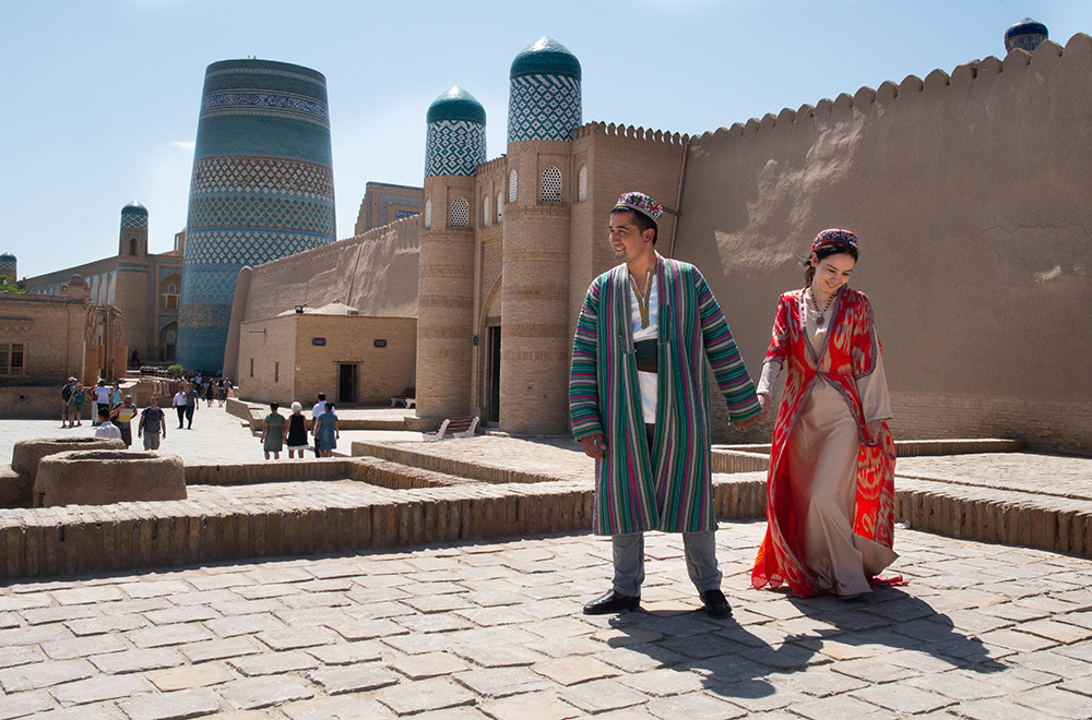 Uzbekistan Khiva wedding couple in traditional costume