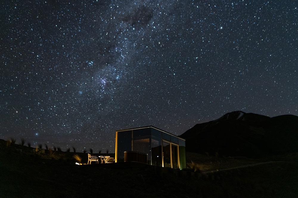 starry night sky over the Lindis Pods Hotel in New Zealand