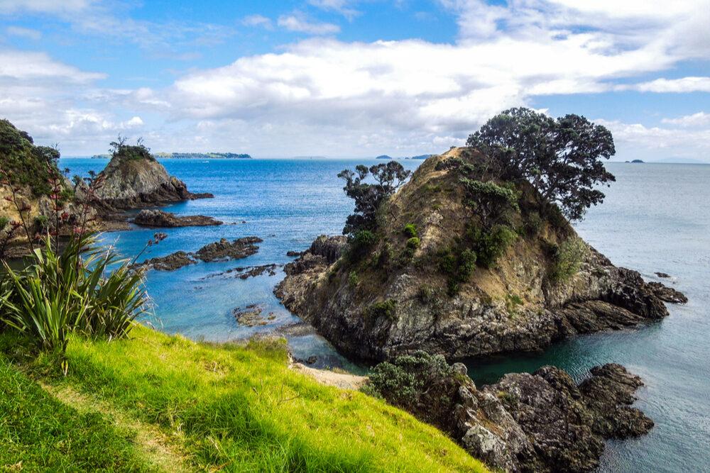 View of the Hauraki Gulf sea, taken from the Owhanake Coastal Track on Waiheke Island, New Zealand. Photo: Shutterstock