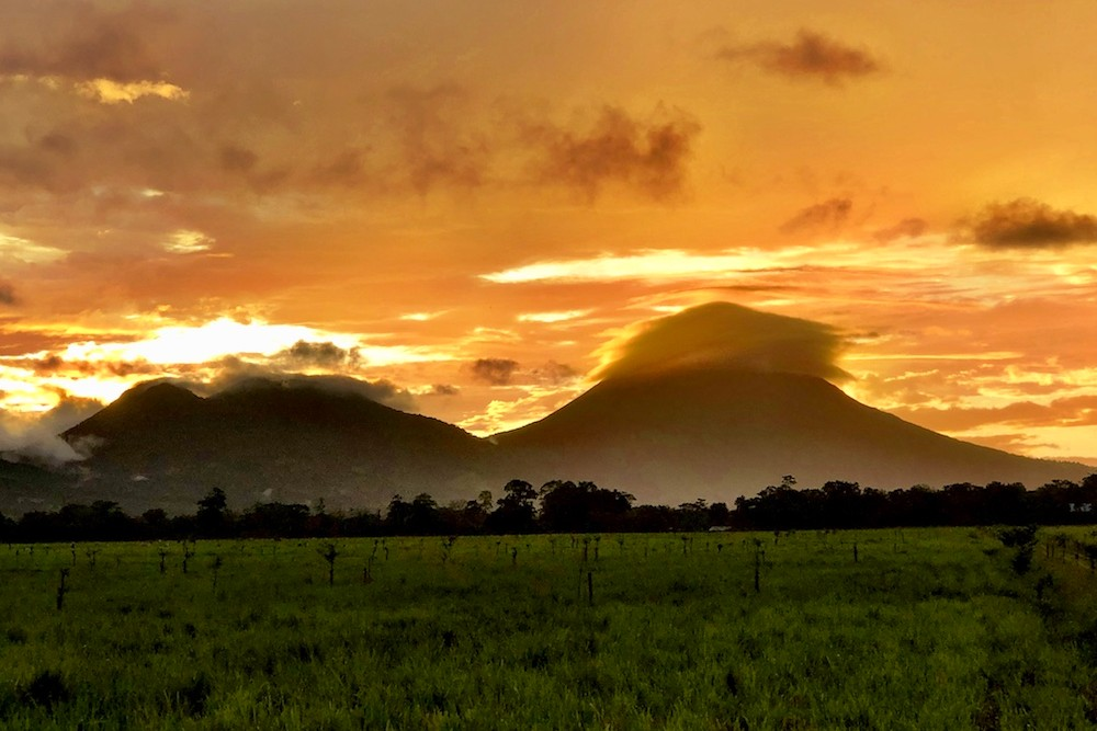 sunset over Arenal volcano in Costa Rica