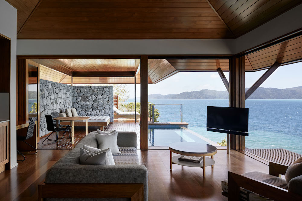 open-air living room in luxury hotel Qualia in the Whitsundays in Australia Great Barrier Reef area