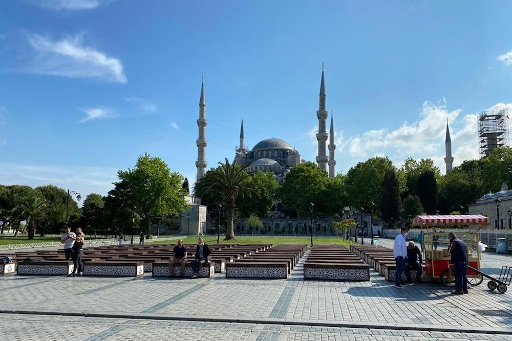 Istanbul's Blue Mosque and the surrounding park without any tourists