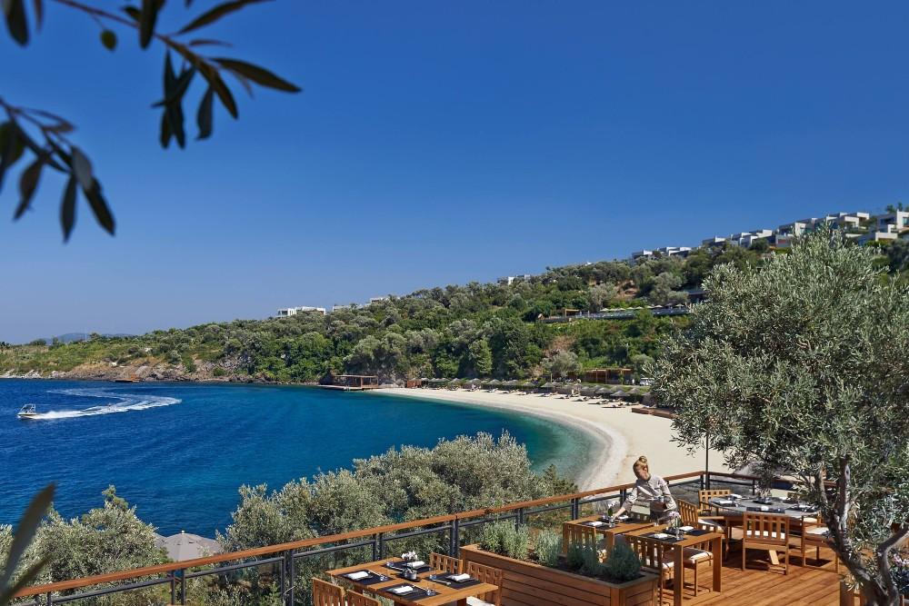 view over beach from restaurant at Mandarin Oriental hotel Bodrum Turkey