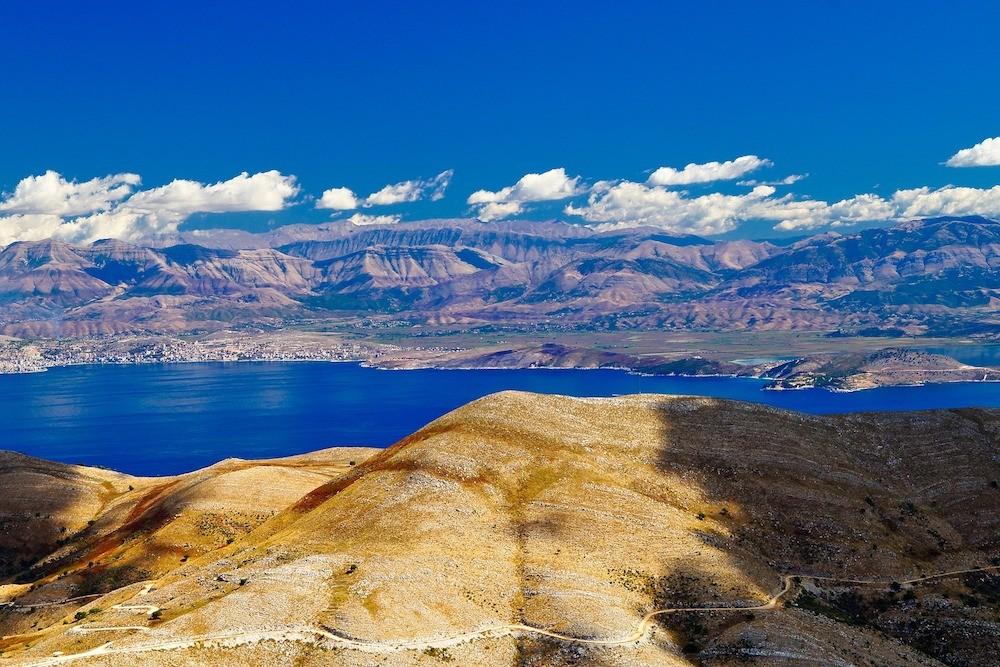 view of ocean from peak of Mount Pantokrator Corfu Greece Ionian Islands