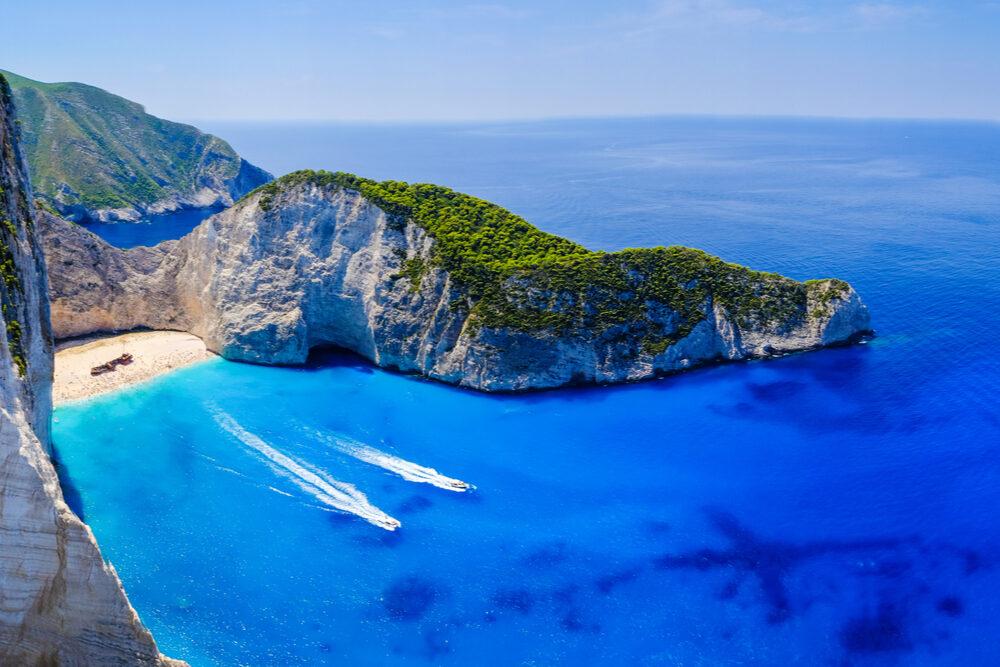 Zakynthos Navagio Bay shipwreck beach panorama on Zakynthos Ionian Islands Greece