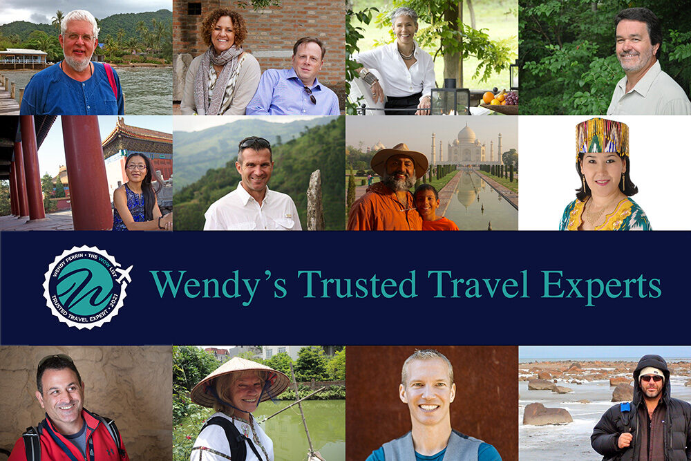 collage of travel planners with the text Wendy's Trusted Travel Experts