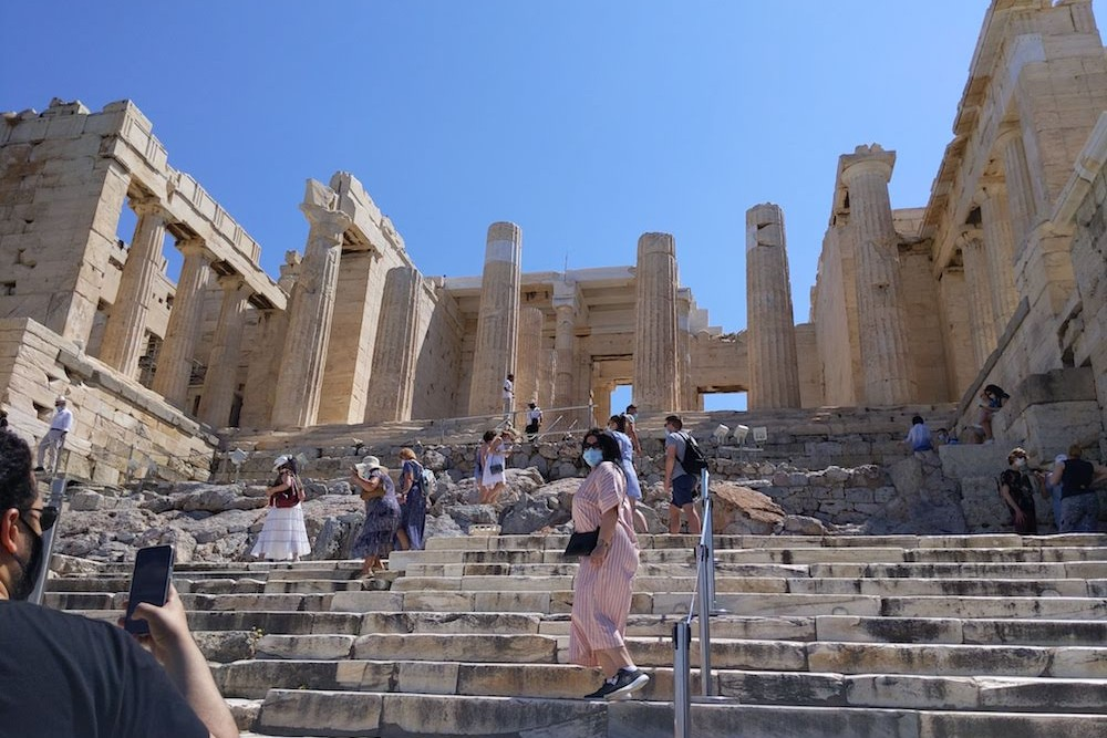 Acropolis Athens Greece small crowd at main entrance (1)