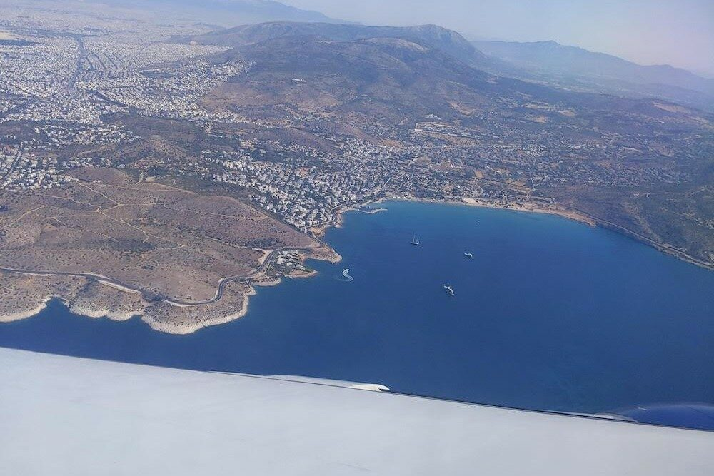 Aerial view of Athens Greece from airplane June 4 2021