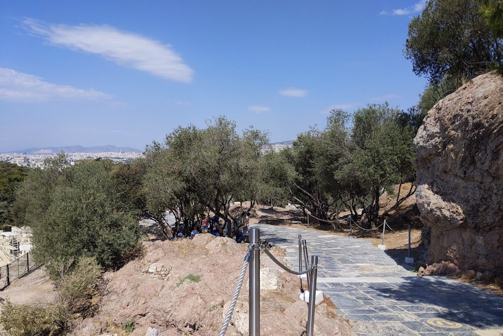 Empty path to the Acropolis Athens Greece