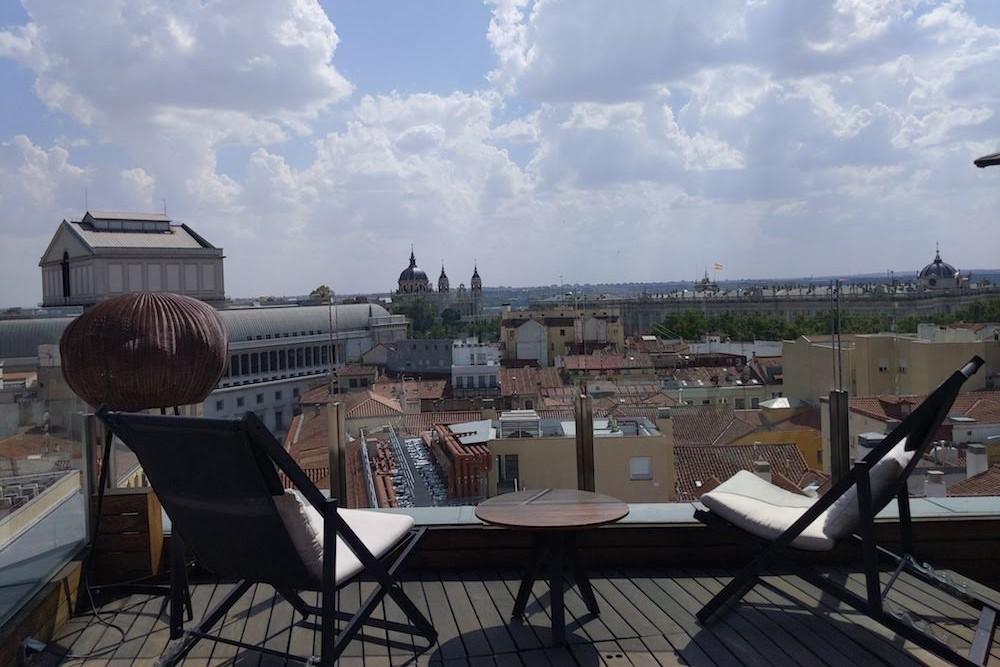 Madrid Spain rooftop view from hotel Palacio de los Duques Gran Meliá