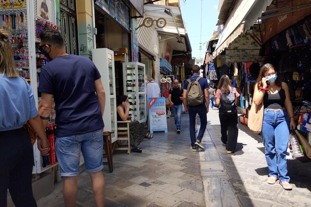 In Plaka, a more touristy neighborhood at the base of the Acropolis, shops were open and people were browsing, but it never felt overcrowded.