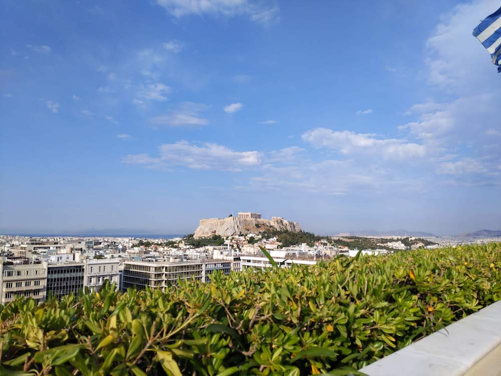 The rooftop restaurant at the Hotel Grand Bretagne has a clear view to the Acropolis.